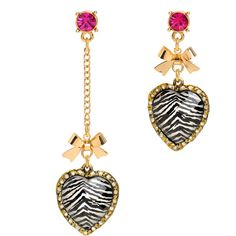 Zebra Mismatch Earrings (715.020 VND) ❤ liked on Polyvore featuring jewelry, earrings, accessories, women, betsey johnson jewellery, post back earrings, betsey johnson jewelry, post earrings and earring jewelry