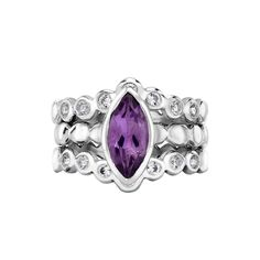 Sterling Silver Marquise Amethyst Dotty Twinkle Ring Set