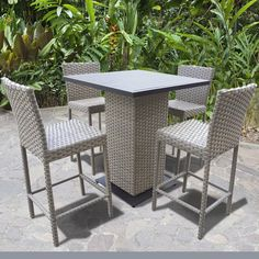 Enjoy modern outdoor dining with the TK Classics Oasis 5 Piece Outdoor Wicker Pub Table Set . The square tabletop is crafted from cast aluminum and powder. Dinning Set, 3 Piece Dining Set, Dining Table, Dining Room, Patio Bar Set, Pub Table Sets, Outdoor Pub Table, Outdoor Decor, Breakfast Nook Dining Set