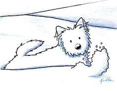 Drawing - Kiniart Westie Snow Plow by Kim Niles