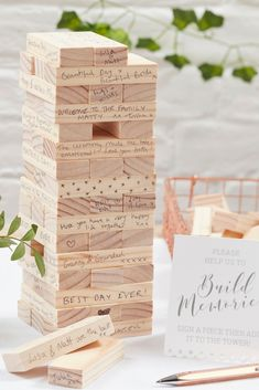 This amazing alternative guest book is great for any wedding! Your guests can write their special wishes on this Jenga guest book. Wedding Guest Table, Wedding Ceremony Ideas, Seating Plan Wedding, Wedding Games, Diy Wedding, Wedding Favors, Wedding Guestbook Table, Wedding Bench, Guestbook Ideas