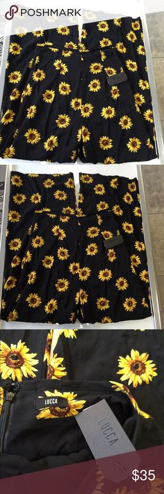 Lucca Couture Black Sunflower Wide Leg Pants Small Lucca Couture Black Sunflower Wide Leg Pants Size small new with tags Lucca Couture Pants Wide Leg