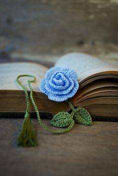 Crochet Flower Bookmark Handmade Blue Rose by joyoustreasures