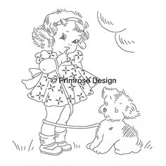 vintage baby clipart, little girl illustration, black and