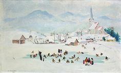 Christmas and winter time by famous Slovak artist - Karol Ondreicka - Winter pleasures (1942)  kultura.sme.sk