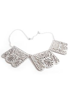 papel picado necklace silver