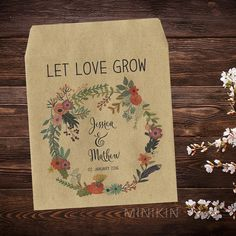 This listing is for 25 x empty personalised wedding seed packets. Gorgeous rustic and eco-friendly seed packets with self sealing tops. Seed Packets