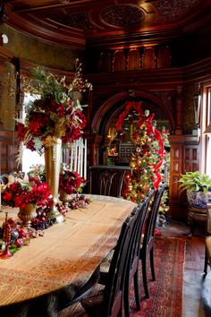 Wilderstein Holiday Tour - traditional - dining room - new york - Rikki Snyder- Wilderstein Holiday Tour – traditional – dining room – new york – Rikki Snyder Wilderstein Holiday Tour – traditional – dining room – new york – Rikki Snyder - Christmas Scenes, Christmas Past, Vintage Christmas, Christmas Holidays, Primitive Christmas, Country Christmas, Christmas Christmas, Front Door Christmas Decorations, English Christmas