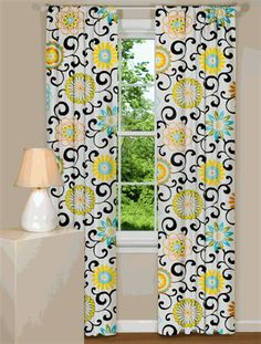 LOVE THESE!!!! Modern Curtain Panel With Brightly Colored Flowers in our Pom Pom Play - Confetti Pattern