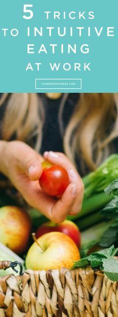 We're obsessed with dieting and restricting ourselves. Which is why you need to give intuitive eating a try. Your 5-step guide to eating healthy in the office. #Intuitive #Diet #Fitness #Wellness