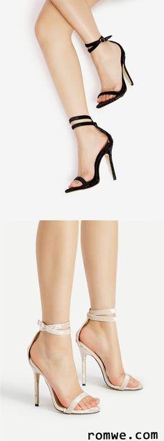Two Part Stiletto Velvet Sandals