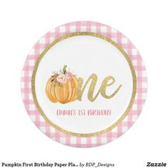 Pumpkin First Birthday Paper Plate - P Gingham C Paper Napkins, Paper Plates, Holiday Cards, Christmas Cards, Pumpkin First Birthday, Gingham, Cake Servings, Party Tableware, Christmas Card Holders