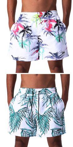 Summer Printing Beach Short for Men: Drawstring Board / Quick Dry