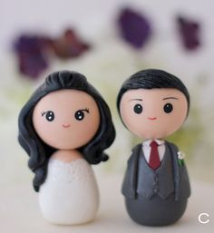Wedding cake topper kokeshi figrurines by Chikipita on Etsy