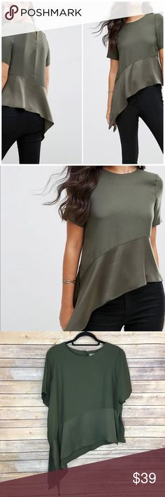 """NWOT ASOS Matte & Shine Top Soft woven fabric Crew neckline Peplum design Asymmetric hem Button-keyhole back Regular fit - true to size Pit to pit 23""""/ length 24"""" and 30"""" 100% Polyester ASOS Tops"""