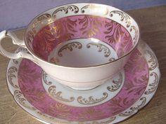 Šálek na čaj * bílý porcelán s zlato fialovým dekorem ♥