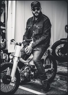 "hayymeadows: ""Jai Courtney photographed by John Russo Honda Cub, Bobber Motorcycle, Motorcycle Clubs, Motorcycle Outfit, Motorcycles, Custom Moped, Custom Bikes, Moped Scooter, Biker Boys"