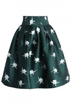 Paper Cranes Pleated Tulip Skirt - Retro, Indie and Unique Fashion