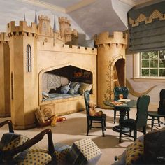 A castle bunk bed is such a fun idea for a kids room . . .