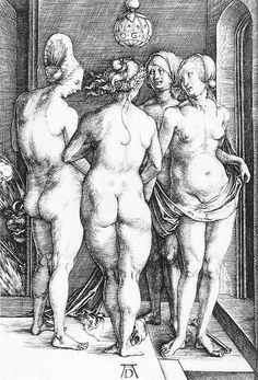 Four Naked Women: 1497 by Albrecht Dürer - engraving (Cleveland Museum of Art, Cleveland, Ohio) Viewed as part of the Exhibition: Dürer's Women: Images of Devotion & Desire (August, Albrecht Durer, Hans Baldung Grien, Comic Style, Art Asiatique, Fine Art Prints, Canvas Prints, Canvas Art, Desenho Tattoo, Pierre Auguste Renoir