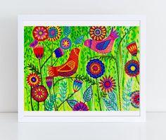 Bird/Garden Folk Art Floral Instant Download Digital #folkart #colorful #artprints #cheeryart #cheery #100thankyous