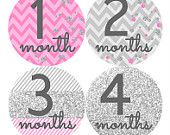 Baby Monthly Stickers FREE Baby Month Milestone Sticker Baby Girl Bodysuit Stickers Baby Month Sticker Chevron Silver Glitter Pink Grey 144G