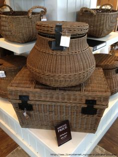 Baskets of different sizes.