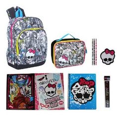 MONSTER HIGH 16 Party Monsters Backpack & ULTIMATE Back to School Set includes Lunch Box, Folders, Spiral, Pencils, Eraser, and Ruler