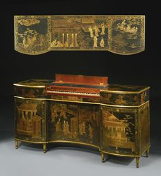 AN IMPORTANT GEORGE III PARCEL-GILT CHINESE BLACK LACQUER-MOUNTED AND JAPANNED CLAVICHORD ATTRIBUTED TO THOMAS CHIPPENDALE CIRCA 1775 within an inverted bowfront case with a hinged top including a folding keyboard cover, the lower part with two pairs of cupboard doors enclosing shelves. the left side fitted with a drawer to the upper section.