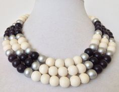 Black and White Necklace Chunky Colorblock by PolishedPlum on Etsy