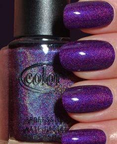 Simple glitter purple nails