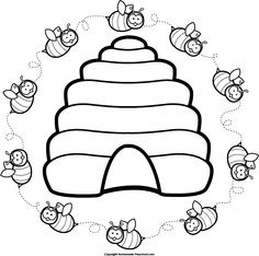 Free Beehive Clip Art of Beehive vintage bee hive clipart image for your personal projects, presentations or web designs. Bee Embroidery, Embroidery Patterns, Quilt Patterns, Bee Coloring Pages, Coloring Books, Bee Crafts, Preschool Crafts, Bee Clipart, Bee Party