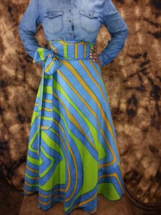 SHOP DASHIKI African Wax Print HIGH Waist Wrap Skirts fits up to size 14 Color-Turquoise and Lime Green