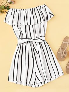 To find out about the Striped Off The Shoulder Ruffle Trim Belted Playsuit at SHEIN, part of our latest Jumpsuits ready to shop online today! Cute Lazy Outfits, Crop Top Outfits, Retro Outfits, Outfits For Teens, Stylish Outfits, Rompers For Teens, Teenage Outfits, Girls Fashion Clothes, Summer Fashion Outfits