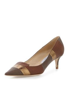 Jimmy Choo Allure Striped Snakeskin Kitten-Heel Pump, Canyon Mix