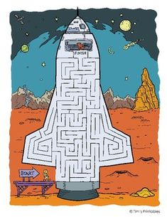 Free printable space mazes for kids! Guide the astronaut to his space ship. Fine Motor Activities For Kids, Mazes For Kids, Printable Mazes, Printables, Maze Worksheet, Worksheets, Astronaut Party, Maze Puzzles, Fathers Day Crafts