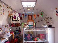 Interior of Vagabond Van mobile Airstream shop.
