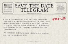 Telegram Save the Dates - Available for customizing and order at http://www.nicolablack.com/wedding