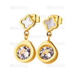 pendientes de trebol piedra concha con cristal en acero dorado inoxidable -SSEGG804518
