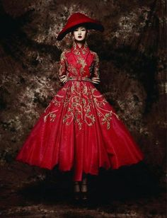 The lady in red Photo for LOfficiel China, dress byDior Couture,photographer unknown