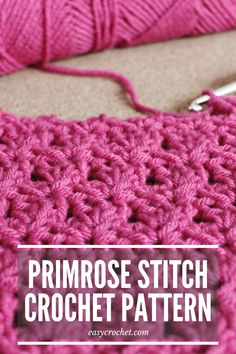 The primrose stitch, a modification on the shell stitch, is perfect for beginner crocheters who want to get learn an intermediate-stitch. It adds a beautiful texture to any crochet project. Crochet Stone, Chunky Crochet, Easy Crochet, Crochet Hooks, Free Crochet, Different Crochet Stitches, Crochet Stitches Patterns, Stitch Patterns, Crochet Edgings