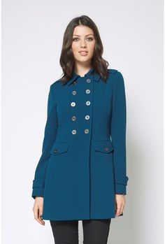 Frankie Military Coat from Max. The actual colour has more green in it than the picture and is fabulous with my pashmina. New Zealand Winter, Deep Teal, Suede Jacket, Jackets Online, Fashion Forward, High Neck Dress, Military, Stylish, Winter Coats
