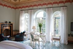Amazing chevron floor tiles. Luxury Hotels in Italy, Suite Nine at Palazzo Margherita