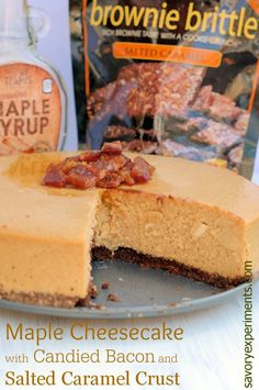 Maple Cheesecake with Candied Bacon and Salted Caramel Crust - the best velvety cheesecake spiked with real maple syrup, brownie brittle crust. Sweet and salty.