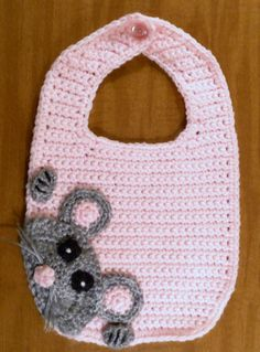 Crocheted Pink Sneaky Mouse Bib