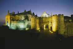 A view from the battlements of Stirling Castle towards the floodlit James IV's arch