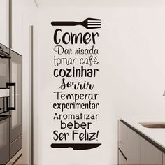"Adesivo de parede decorativo ""Comer, dar risada, cozinhar, ser feliz"". Você mesmo pode aplicar, sem sujeira e sem complicação! Home Design Decor, House Design, Industrial Interior Design, Industrial Interiors, Simpsons Supreme, Wall Decor, Room Decor, Wall Drawing, Mural Wall Art"