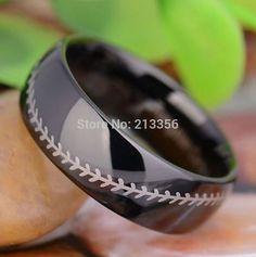 Damascus Steel Baseball Ring With Acid Wash Finish