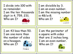"""FREE Twelve sample riddle cards from """"100 Riddles for the Hundred Chart: Grades 4-5"""" Maths Puzzles, Math Worksheets, Math Activities, Maths Riddles, Math Games, Maths Resources, Teacher Freebies, Classroom Freebies, Classroom Ideas"""