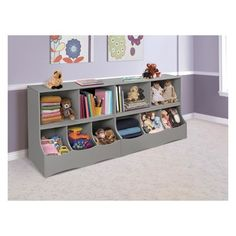 Badger Basket Multi-Bin 37 in. x 32 in. Gray - The Home Depot Baby Playroom, Playroom Storage, Cubby Storage, Playroom Ideas, Playroom Table, Playroom Design, Playroom Decor, Toddler Room Organization, Modern Playroom